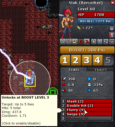 Example of mouse-overing a character attack